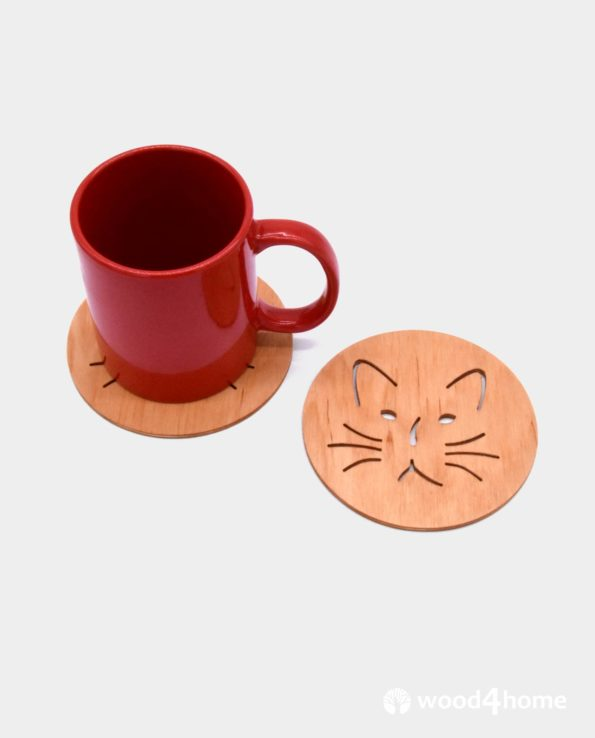 cat coasters wooden