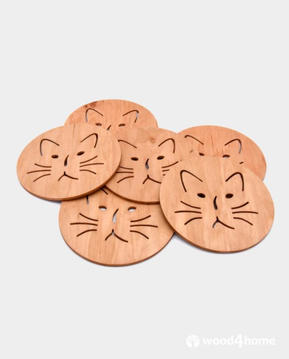 cat lovers gift coasters wooden