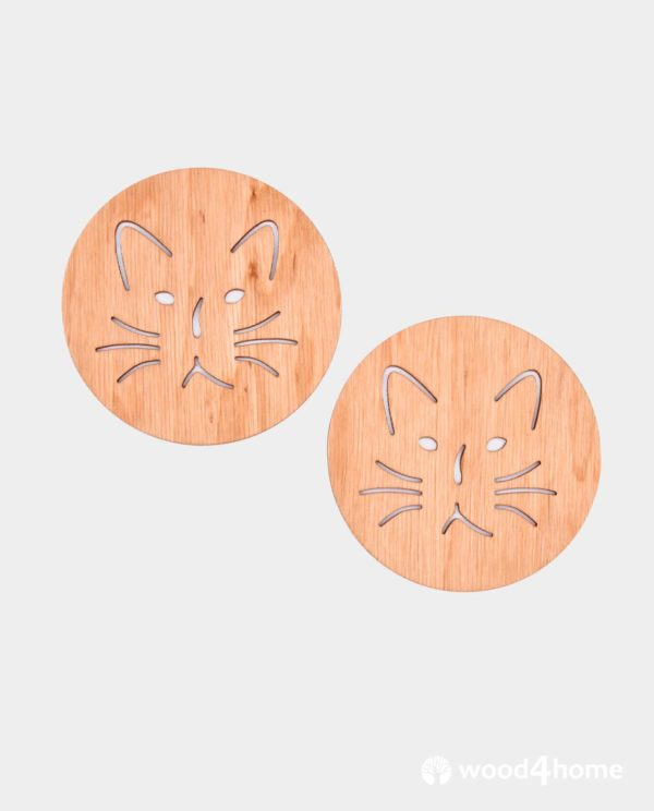 coasters wooden cat