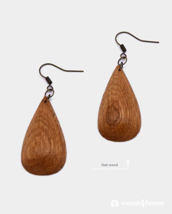 handmade wooden earrings drop shape oak wood jewelry gift woman