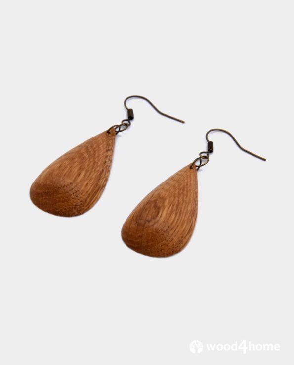 handmade wooden earrings droplet shape oak wood jewelry