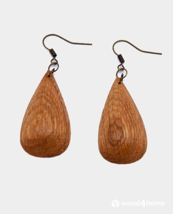 handmade wooden earrings droplet shape wood jewelry
