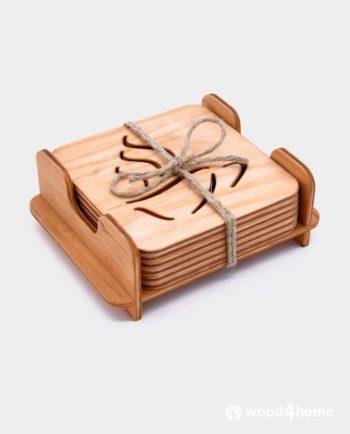 Wooden Coaster Set Tea Lover