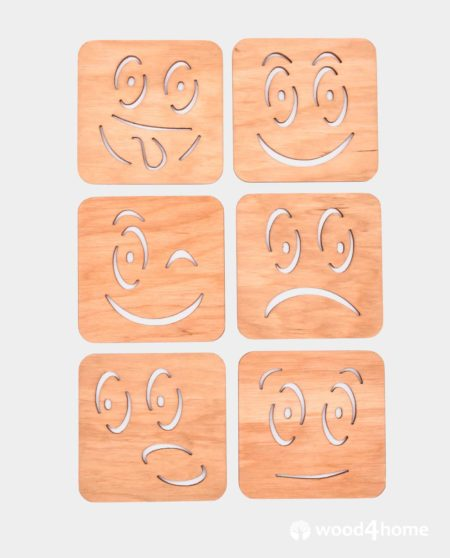 set coaster wooden smile