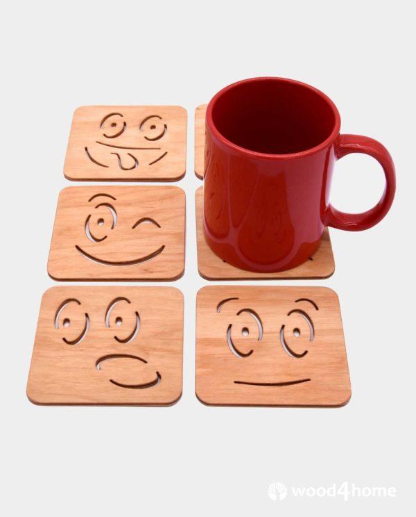 set coaster wooden smile