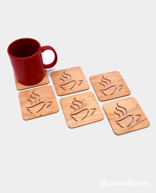 set of coasters with holder