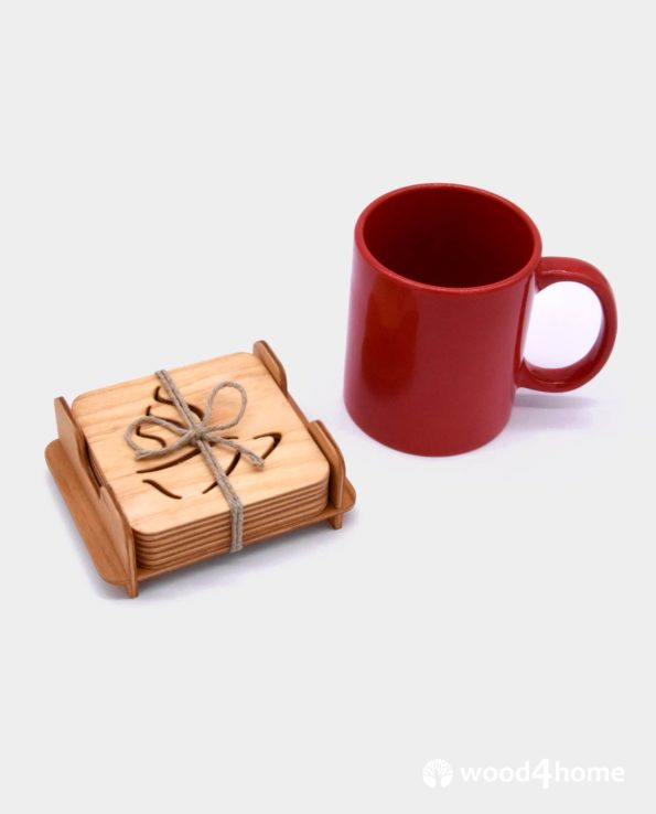 wooden coasters with holder office gift